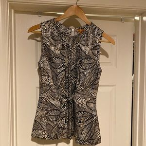 Tory Burch black and white sleeveless blouse